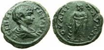 Ancient Coins - THRACE.PAUTALIA.Geta Caesar AD 209-212.AE.Assarion.~#~.Asclepius standing.