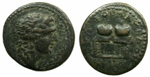 Ancient Coins - MACEDON.Time of Gordian III AD 238-244.AE.24.9mm. Head of Alexander The Great ~#~.Table with prise crowns.