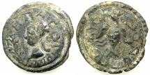 Ancient Coins - GRECO-ROMAN.circa 4th cent AD. Lead alloy Tessera.45.2mm. Female bust.~#~.Eagle? with crescent above. **** UNPUBLISHED *****