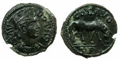 Ancient Coins - TROAS.ALEXANDRIA TROAS.Pseudo Autonomous issue, Mid 3d cent AD.AE.21.9mm.~Tyche.~#~.Horse grazing.