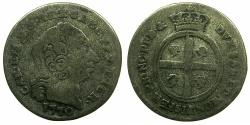 World Coins - ITALY.SARDINIA.Carlo Emanuelle III 1730-1733.Billon Mezzo Real Nuovo 1770.