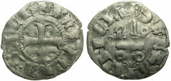 World Coins - CRUSADERSTATES.GREECE.Principality of ACHAIA.Mahault of Hainault AD 1316-1321.Bi.Denier.Type MA1c.