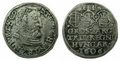 World Coins - HUNGARY.Stefan Bocskai Prince of Transylvania and Hungary AD 1604-1606.AE.Trojak ( 3 Grosze ).1606.