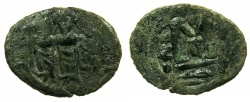 Ancient Coins - ARAB-BYZANTINE.Anonymous 7th C.AD.AE.Fals.Mint of TABARIA, with bi Kasrin in exergue.****RARE****