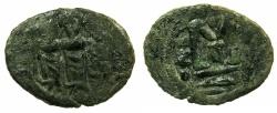 Ancient Coins - ARAB-BYZANTINE.Anonymous 7th C.AD.AE.Fals.Mint of TABARIYA ( TIBERIAS ), bi Kasrin in exergue.****RARE****
