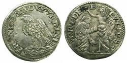 World Coins - ITALY.URBINO.Francesco Maria II Della Rovere AD 1574-1624.AR.Grosso.~#~. Saint Thomas kneeling before Christ.