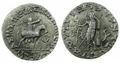 Ancient Coins - INDO SKYTHIAN.Azes circa 58-12BC.AR.Tetradrachm. Bilingual legends: Greek / Kharoshi. Reverse. Zeus Nikiphorus.