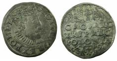 World Coins - POLAND.Sigismund III Vasa King of Poland and Grand Duke of Lithuania AD 1587-1636.AR.Trojak ( 3 Grosze ).1590. Mint of POSEN.