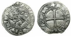 World Coins - ANGLO GALLIC.Edward I , issue as son of Henry III AD 1252-1272.AR.Denier au Lion. Obverse error reading +ED EDVVARD FIL