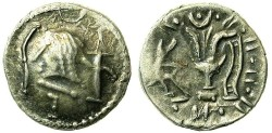 Ancient Coins - ARABIA FELIX.Himyarites.Anonymous 1st cent BC.AR.Denarius.Male head / Bucranium