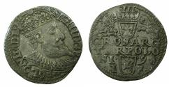 World Coins - POLAND.Sigismund III Vasa King of Poland and Grand Duke of Lithuania AD 1587-1636.AR.Trojak ( 3 Grosze ).1598. Mint of OLKUSZ.