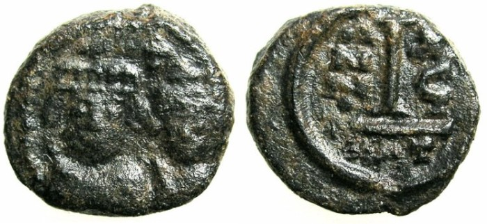 Ancient Coins - BYZANTINE EMPIRE.SICILY.Heraclius AD 610-641.AE.Decanummia.Struck AD 626/27.Mint of CATANIA.