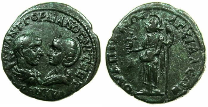 Ancient Coins - THRACE.ANCHIALIS.Gordian III and Tranquillina AD 241-244.AE.26.4mm.~#~. Athena standing holding Nike.