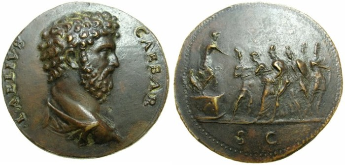 Ancient Coins - Aelius Caesar ( AD 136-138 ).AE.Struck, PADUAN Medallic Sestertius, early 16th cent -17th Cent AD.Unknown artist.