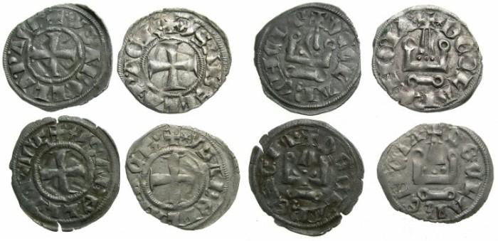 World Coins - CRUSADER STATES.GREECE.Principality of ACHAIA.Isabelle de Villehardouin AD 1289-1291.Billon deniers 4 principal types.