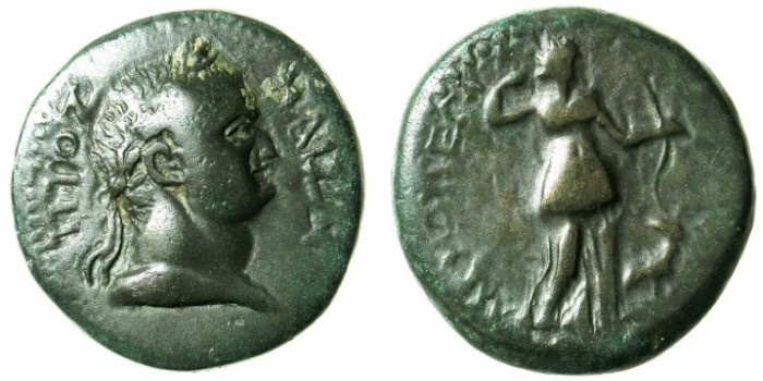 Ancient Coins - CILICIA.ANEMURIUM.Titus AD 79-81.AE.25.Rev. Diana and stag.