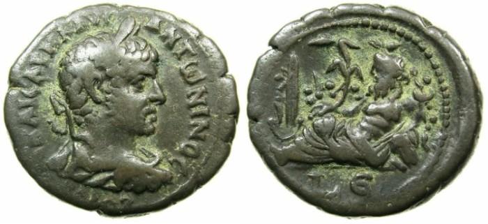 Ancient Coins - EGYPT.ALEXANDRIA.Elagabalus AD 218-222.Billon Tetradrachm, struck AD 221-222.~#~. NILOMETER.