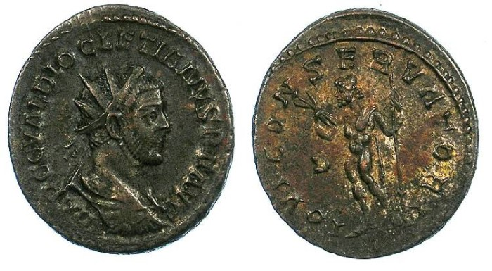 Ancient Coins - ROMAN.Diocletian AD 284-305.AE.Antoninianus.Jupiter standing.