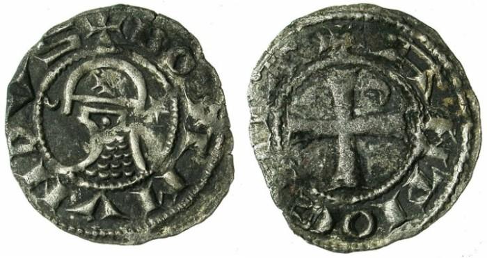 Ancient Coins - CRUSADER.Principality of Antioch.Bohemond IV 2nd period 1219-1233 or Bohemond V 1233-1251..Bi.Denier.class O.