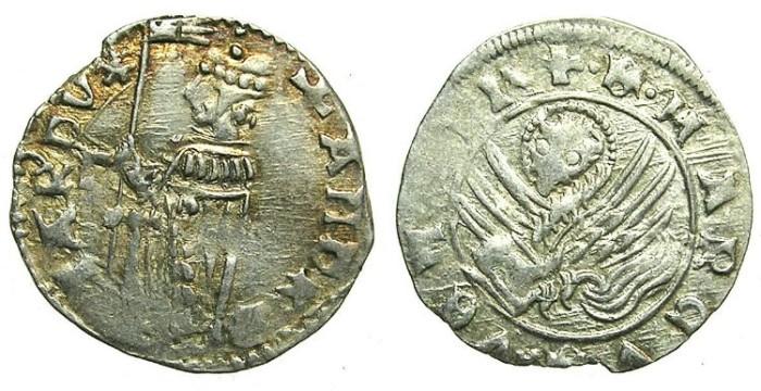 Ancient Coins - ITALY.VENICE.Andrea Contarini AD 1368-1382.AR.Soldino.2nd Type.1st.issue.Sigla F.