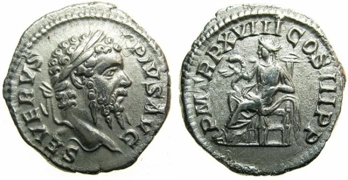 Ancient Coins - ROMAN.Septimius Severus AD 193-211.AR.Denarius.1st issue.AD 210.~~~SALUS.