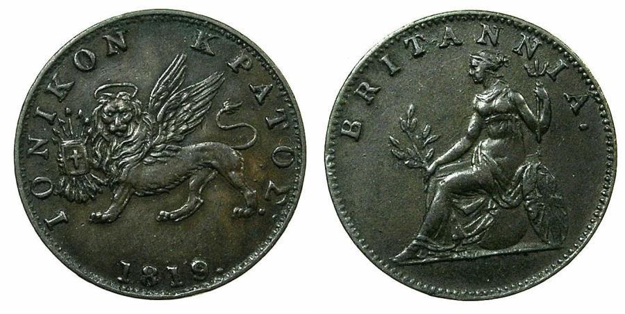 World Coins - GREECE.IONION ISLANDS under Bristish Rule.AE.2 Lepta ( 1/2 obol ) 1819.