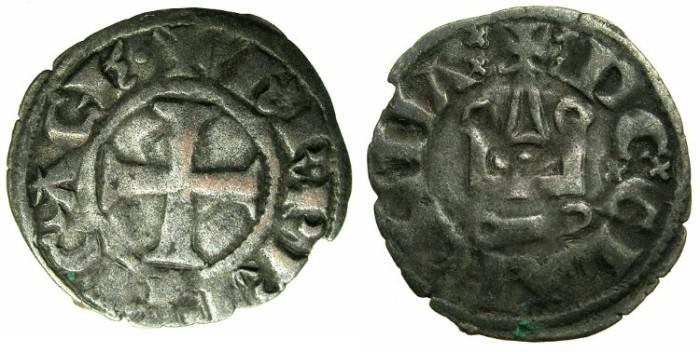 World Coins - CRUSADER STATES.GREECE.Principality of ACHAIA.Charles I or II of Anjou AD 1278-1285-1289.Bi.Denier.Type KA 101