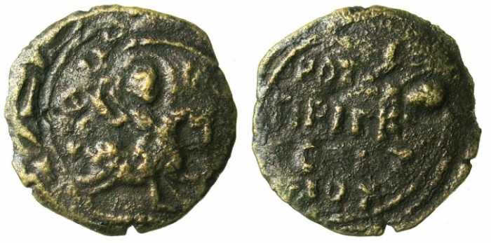 Ancient Coins - CRUSADER.ANTIOCH.Roger of Salerno AD 1112-1119.AE.Follis.3rd type.Saint George and dragon