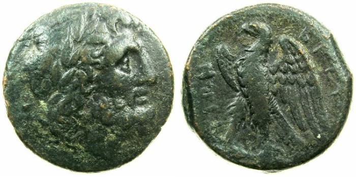 Ancient Coins - BRUTTIUM.The Brettii.Circa 282-203 BC.AE.Unit.~#~.Head of Zeus laurate.~#~. Eagle on thunderbolt.