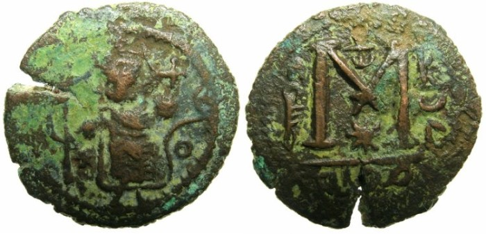 Ancient Coins - ARAB-BYZANTINE.Anonymous AD 7th cent.AE.Fals.Mint of DAMASCUS.