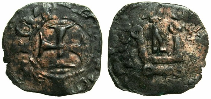 Ancient Coins - CRUSADER STATES.GREECE.EPIRUS.John II Orsini AD1323-1335. Bi.Denier.Struckat the castle ARTA.