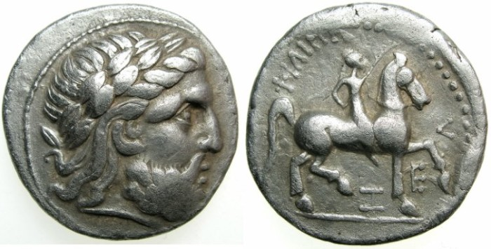 Ancient Coins - CELTIC.Danube region.Circa 3rd cent BC.AR.Tetradrachm; imitating Philip II( 359-336 BC) of Macedon