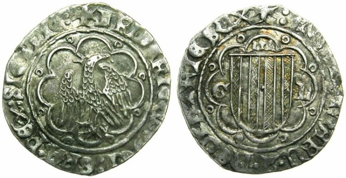 Ancient Coins - ITALY.SICILY.Federick IV The Simple AD 1355-1377.AR.Pierreale.Sigla G L.