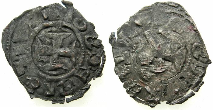 World Coins - CRUSADER STATES.GREECE.EPIRUS.John II Orsini 1323-1335.Bi.Denier.Struck at ARTA.Obverse.+IOS... Not recorded?
