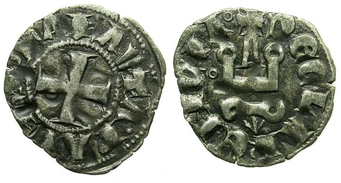 Ancient Coins - CRUSADER.ACHAIA.Mahault of Hainault AD 1316-1321.Bi.Denier.Type 1A.
