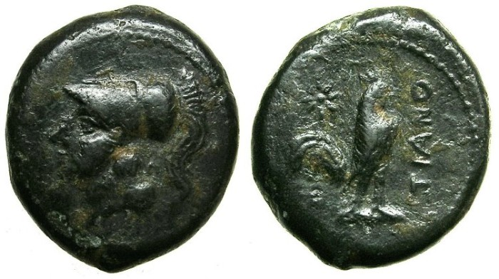 Ancient Coins - CAMPANIA.Teanum Sidicinum.Struck after Circa 268 BC.AE.21.Athena.Cockeral.