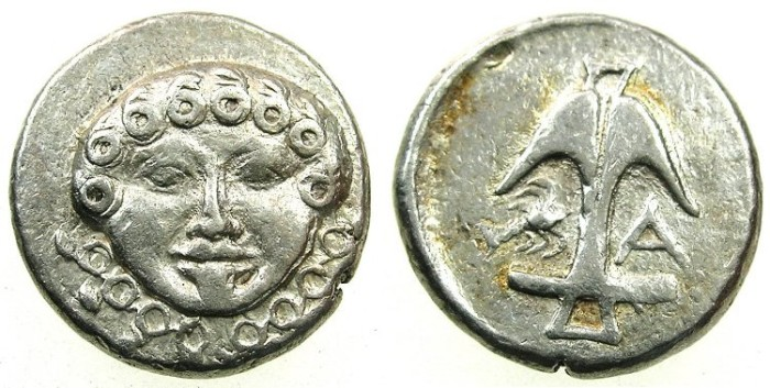 Ancient Coins - BLACK SEA.Apollonia Pontika.Mid to Late 4th cent BC.AR.Drachma.~~~Gorgoneion.~#~.Anchor, crayfish and letter A