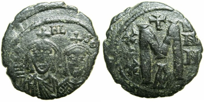 Ancient Coins - BYZANTINE EMPIRE.Michael I Rhangabe with Theophylactus AD 811-813.AE.Follis.Mint of CONSTANTINOPLE.