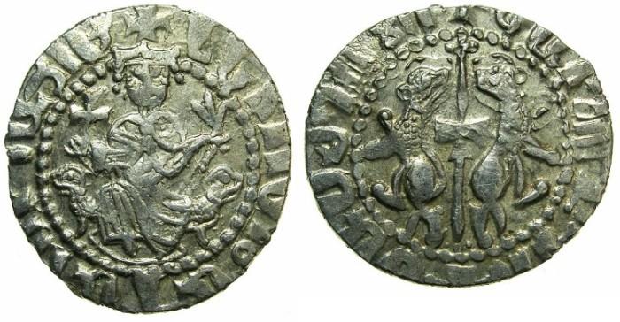 Ancient Coins - CILICIAN ARMENIA.Levon I AD 1199-1219.AR.Tram.~~~Dot left of kings head.
