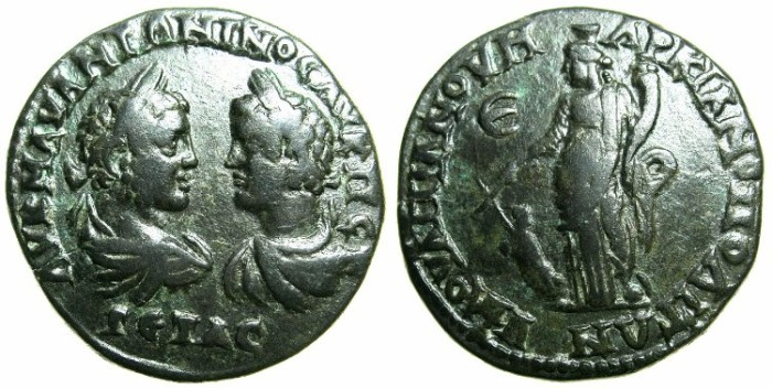 Ancient Coins - MOESIA INFERIOR.MARCIANOPOLIS.Caracalla and Geta joint rule AD 211-212.AE.5 Assaria.~#~.Tyche standing. *****RARE JOINT RULE ISSUE *****