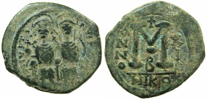 Ancient Coins - BYZANTINE EMPIRE.Justin II AD 565-578.AE.Follis, struck AD 575/6.Mint of NICOMEDIA.