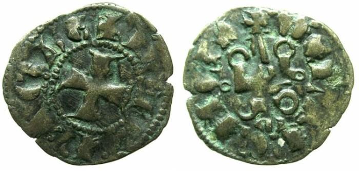 Ancient Coins - CRUSADER.ACHAIA.Jean of Anjou-Gravina 1318-1333.Bi.Denier.Type A3. M below chatel.