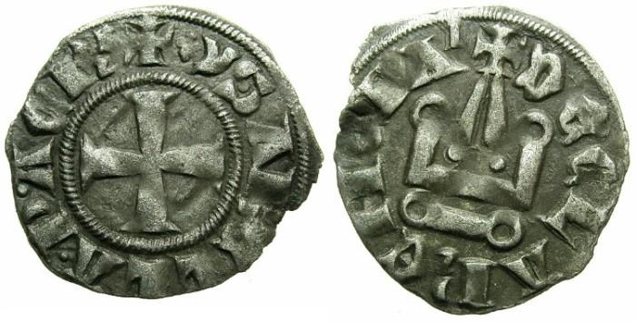 Ancient Coins - CRUSADER. ACHAIA.Isabella of Villehardouin AD 1289-1297.Bi.Denier.Type Y1.