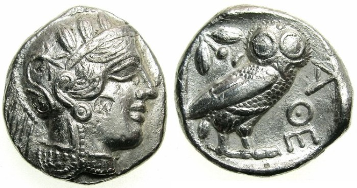 Ancient Coins - ATTICA Athens AR Tetradrachm .struck after 449 BC.