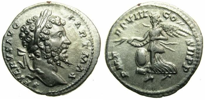 Ancient Coins - ROMAN.Septimius Severus AD 193-211.AR Denarius.AD 200.~~~Flying Victory.