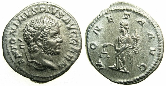 Ancient Coins - ROMAN.Caracalla Augustus.AR.Denarius undated issued c.210-213. ~~~MONETA standing left holding scales.