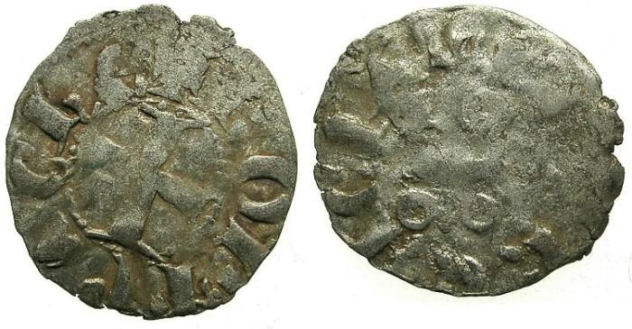 Ancient Coins - CRUSADER.ACHAIA.Robert of Anjou-Tarente 1346-1364.Bi.Denier.