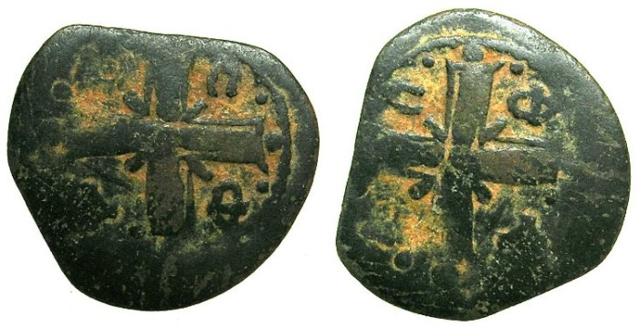Ancient Coins - BYZANTINE EMPIRE.THESSALONICA.Alexius I Comnenus AD 1081-1118.AE.Tetateron.Error striking.Reverse image both sides