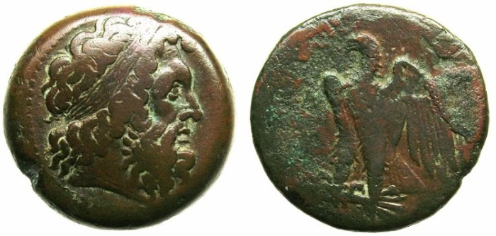 Ancient Coins - PTOLEMAIC EMPIRE.EGYPT.ALEXANDRIA.Ptolemy I Soter c.304-283.AE.26.Zeus laurate.Eagle.