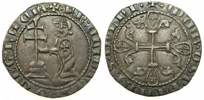 Ancient Coins - CRUSADER.RHODES.Helion de Villneuve AD 1319-1346.AR.Asper, 1st type.****Ex John Slocum collection****